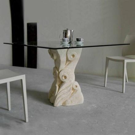 Table de salle à manger Giasone,cristal et pierre naturelle de Vicenza