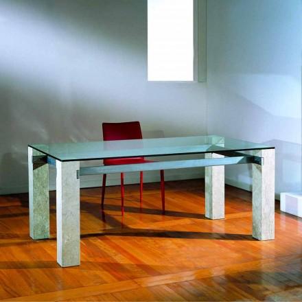 Table de salle à manger en pierre naturelle de Vicenza et cristal Ebea