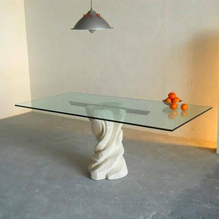 Table à diner en pierre de Vicenza et cristal Urano, faite en Italie