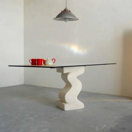 Table de salle à manger en pierre de Vicenza et cristal Anteros