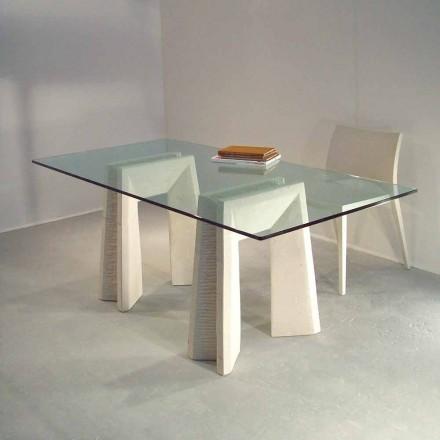 Table de salle à manger en cristal, base en pierre de Vicenza Arianna