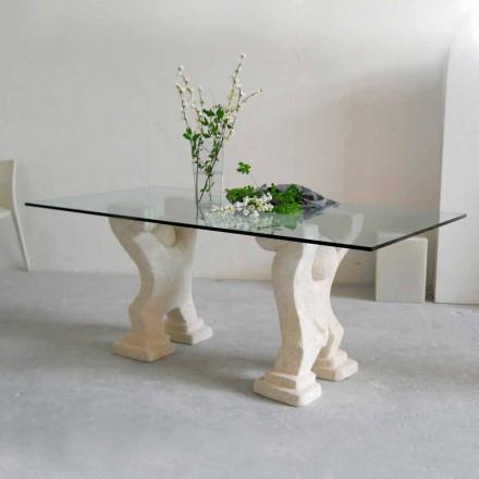 Table à manger en pierre naturelle de Vicenza et cristal Medusa