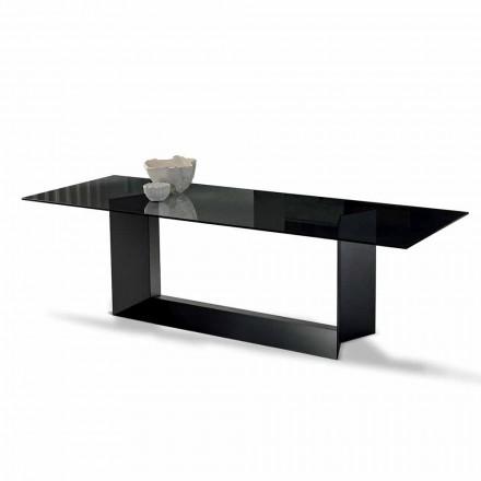 Table à manger en verre fumé ou extralight et métal fabriqué en Italie - Moro