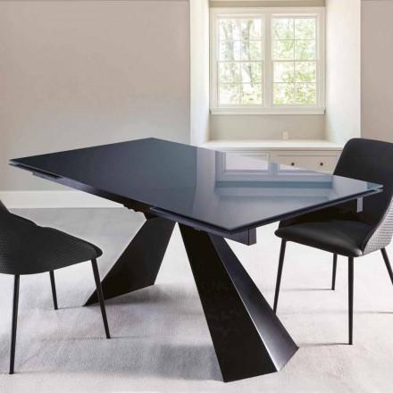 Table à manger en verre poli et métal extensible jusqu'à 250 cm - Ezechiele