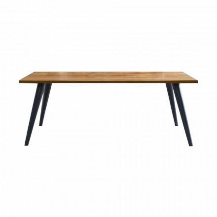 Table à manger moderne avec plateau et base en bois Made in Italy - Motta