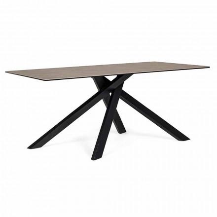 Table à manger moderne avec plateau en céramique et verre Homemotion - Ringo