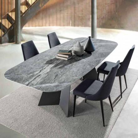Table à manger moderne avec plateau en grès cérame - Meduno