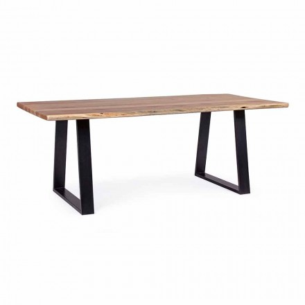 Table de salle à manger industrielle Homemotion avec plateau en bois d'acacia - Vermont