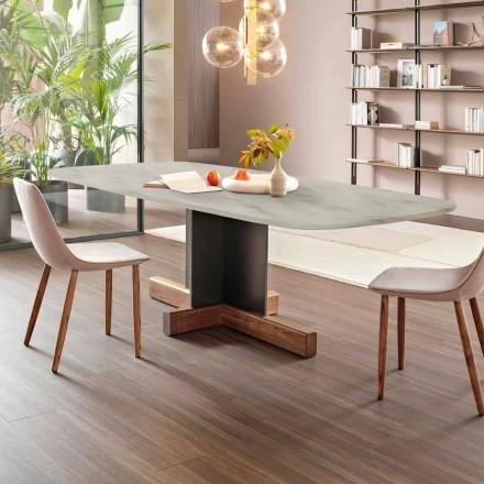 Table à manger moderne avec plateau en marbre Made in Italy - Table Bonaldo Cross