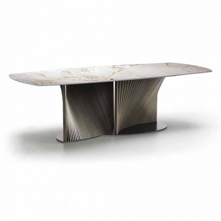 Table à manger de luxe en grès et bois de frêne Made in Italy - Croma