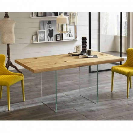 Table à manger moderne en plaqué chêne, jambes en verre, Nico