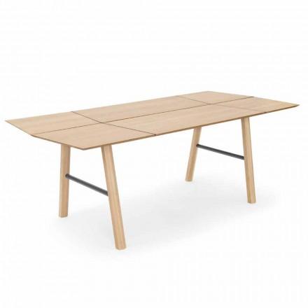 Table à manger moderne en bois de frêne avec détails noirs ou dorés - Andria
