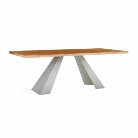 Table à manger en bois et métal blanc, haute qualité Made in Italy - Miuca