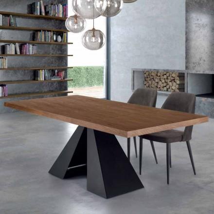 Table de Salle à Manger en Bois Plaqué et Acier Made in Italy – Dalmata