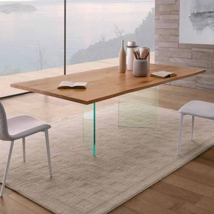 Table à manger en chêne noué et verre de haute qualité Made in Italy - Sibillo