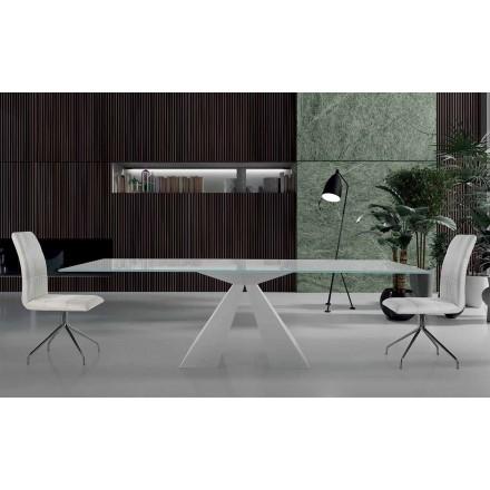 Table de Salle à Manger Moderne en Verre et Acier Blanc Made in Italy – Dalmata
