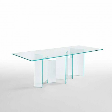 Table à manger moderne en verre extralight ou fumé fabriqué en Italie - aléatoire