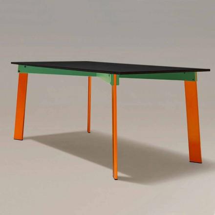 Table à manger moderne avec plateau en bois et base en acier Made in Italy - Aronte
