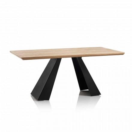 Table à manger rectangulaire moderne avec plateau en MDF de couleur chêne - Volo