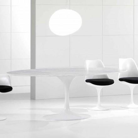 Table de salle à manger ovale de luxe, plateau en marbre de Carrare, fabriqué en Italie - Nerone