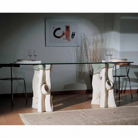 Table de salle à manger Daiana en pierre de Vicenza et cristal