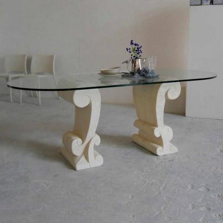 Table à manger classique en pierre de Vicenza Aracne, faite en Italie