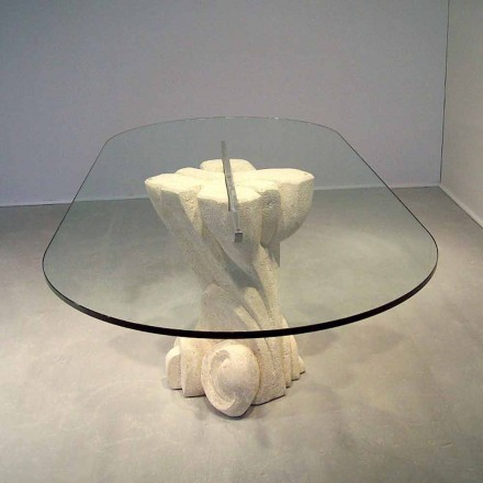 Table de design en pierre naturelle de Vicenza et cristal Afrodite