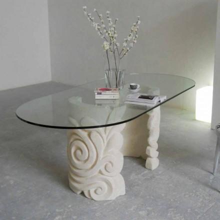 Table en pierre naturelle de Vicenza avec plateau en cristal Aden