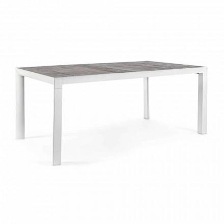 Table à manger d'extérieur avec plateau en céramique et base en aluminium - Jen