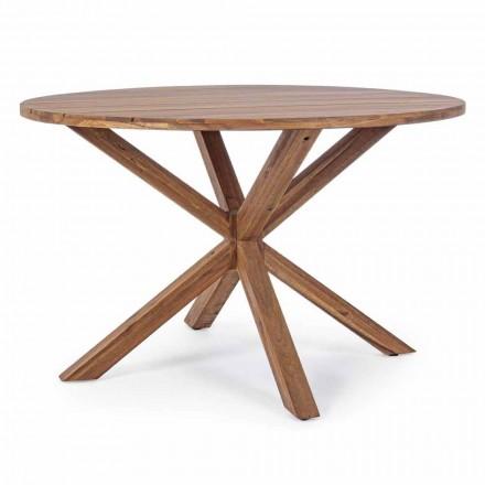 Table à manger d'extérieur avec plateau rond en bois d'acacia - Perry