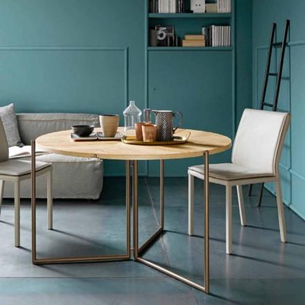 Table à manger pliante moderne en bois et métal fabriquée en Italie - Menelao