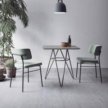 Table de salle à manger raffinée avec plateau carré en HPL Made in Italy - Dublin