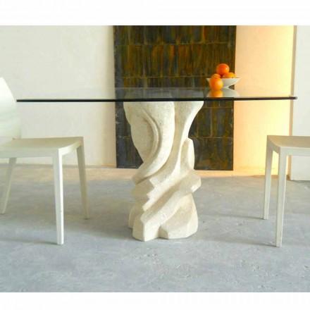 Table à manger carré en pierre naturelle de Vicenza et cristal Leda