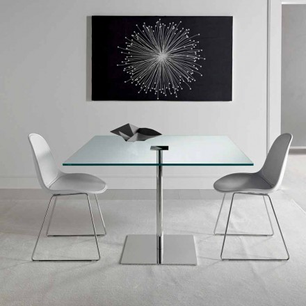 Table de salle à manger carrée en verre extralight et métal Made in Italy - Dolce