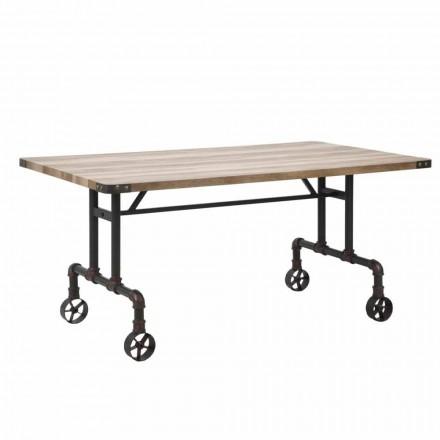 Table de salle à manger design rectangulaire, plateau en MDF et base en métal - Fabrice
