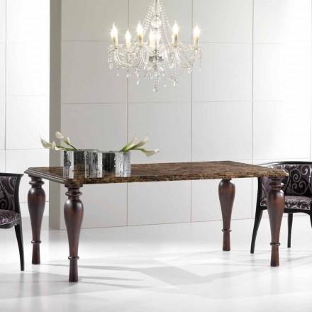 Table de Salle à Manger Rectangulaire en Marbre Emperador Foncé Made in Italy - Nicolas