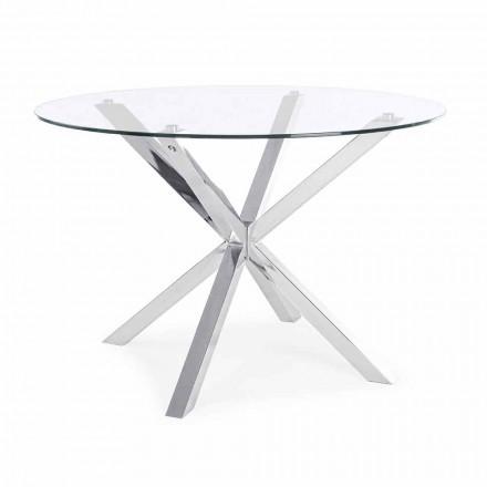 Table à manger ronde Homemotion avec plateau en verre trempé - Denda