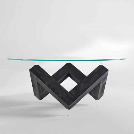 table à manger ronde en bois avecplateau fixe en verre Bao