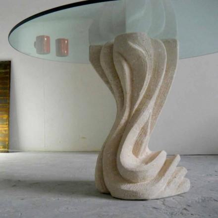 Table ronde en pierre naturelle de Vicenza Cadmo, plateau en cristal