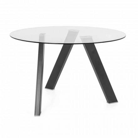 Table de salle à manger ronde diamètre 120 cm en verre et métal design - Tonto