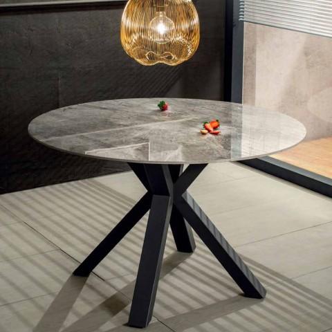 table de salle a manger ronde monderne en ceramique effet marbre et metal jarvis
