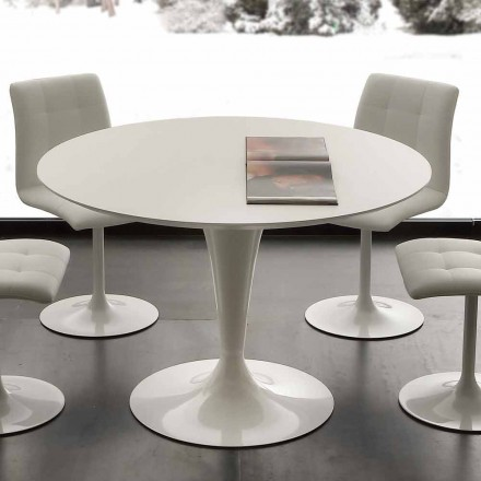 Table blanche de salle à manger fixe Topeka, de design moderne
