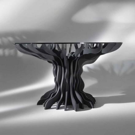 Table à manger ronde Cassia, pied  en bois noir et top en cristal