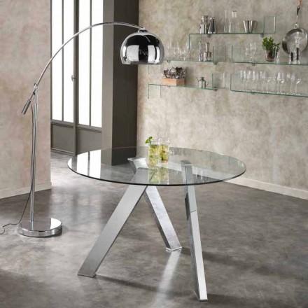 Table à manger ronde avec plateau en verre Adamo, de design moderne