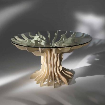 table à manger ronde en bois avec plateau en cristal Dalia