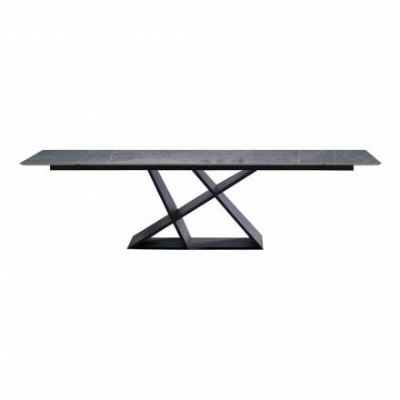 Table extensible de luxe jusqu'à 294 cm avec plateau en grès Made in Italy - Cirio