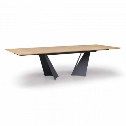 Table design extensible jusqu'à 294 cm en bois et métal Made in Italy - Nuzzo