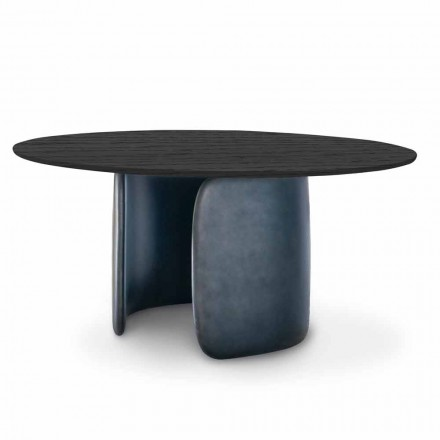 Table design avec plateau rond en bois massif Made in Italy - Mellow Bonaldo
