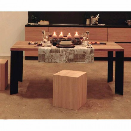 Table design moderne en noyer naturel, L180xP90cm, Yvonne