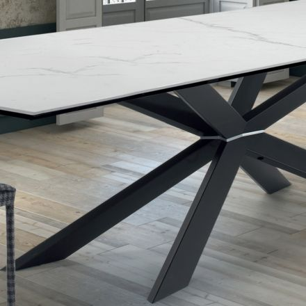 Table de Design de Salle à Manger en Hypermarbre et Acier Noir Made in Italy – Grotta